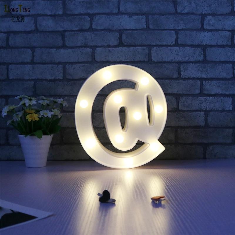 3D светодиодный светящиеся буквы Свет @ и Стрелка символ светодиодный шатер свет Батарея работать Ночник светильник для дома Рождество детс...