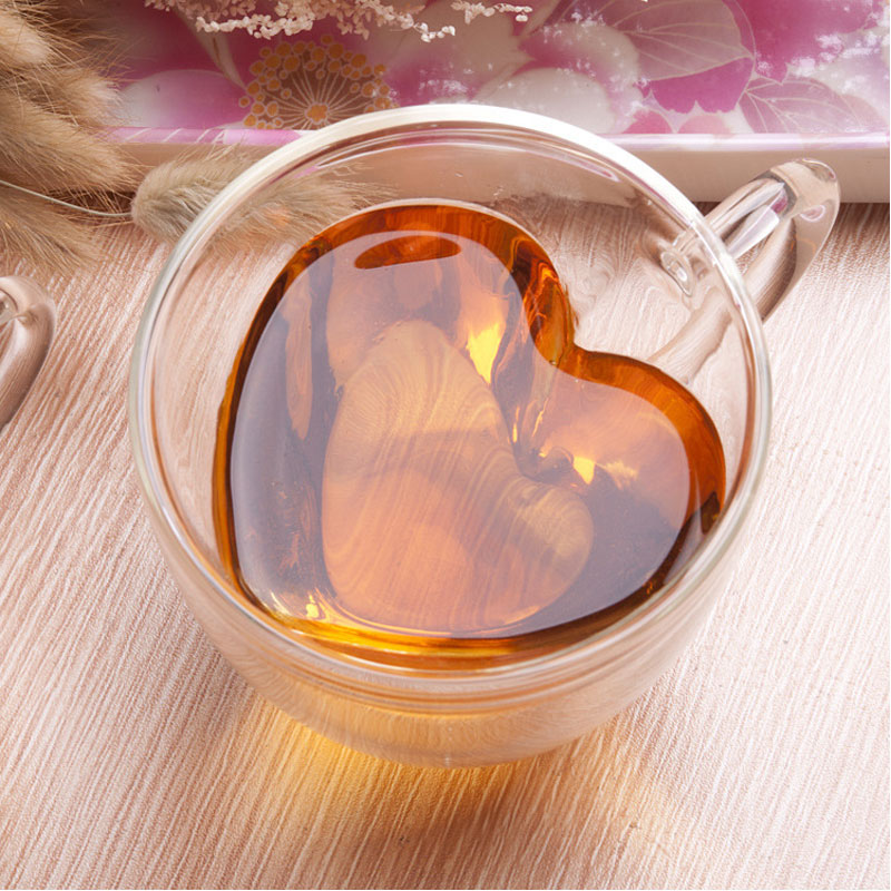 150ml 240ml double wall coffee mugs transparent heart shaped milk tea cups with handle Romantic gifts 流水 盆 養魚