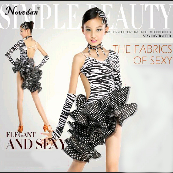 Sexy Zebra Latin Ballroom Dance Dress Kids Girls Dancewear Unequal Salsa Skirts Latin Stage Dance Costume Clothing Children