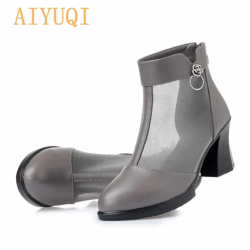 AIYUQI yaz kadın örgü botları 2019 bahar yeni hakiki deri kadın moda ajur botları, yüksek topuklu kadın elbise ayakkabı