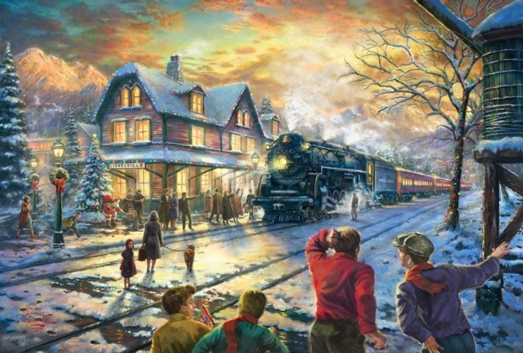 online shop print on canvas thomas kinkade all aboard for christmas christmas painting new year gift 24x36 inch aliexpress mobile