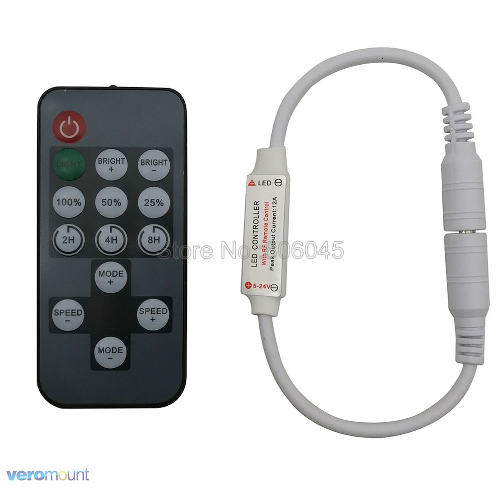 Timing Adjustable <font><b>LED</b></font> <font><b>Dimmer</b></font> Controller Timer Function <font><b>LED</b></font> <font><b>Dimmer</b></font> with 14Key RF <font><b>Remote</b></font> Mini Single Color <font><b>LED</b></font> Strip 5-24V 12A image