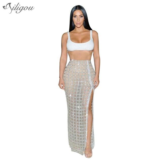 Ailigou 2017 Party Kleid Sexy bodycon Frauen verband top silber ...