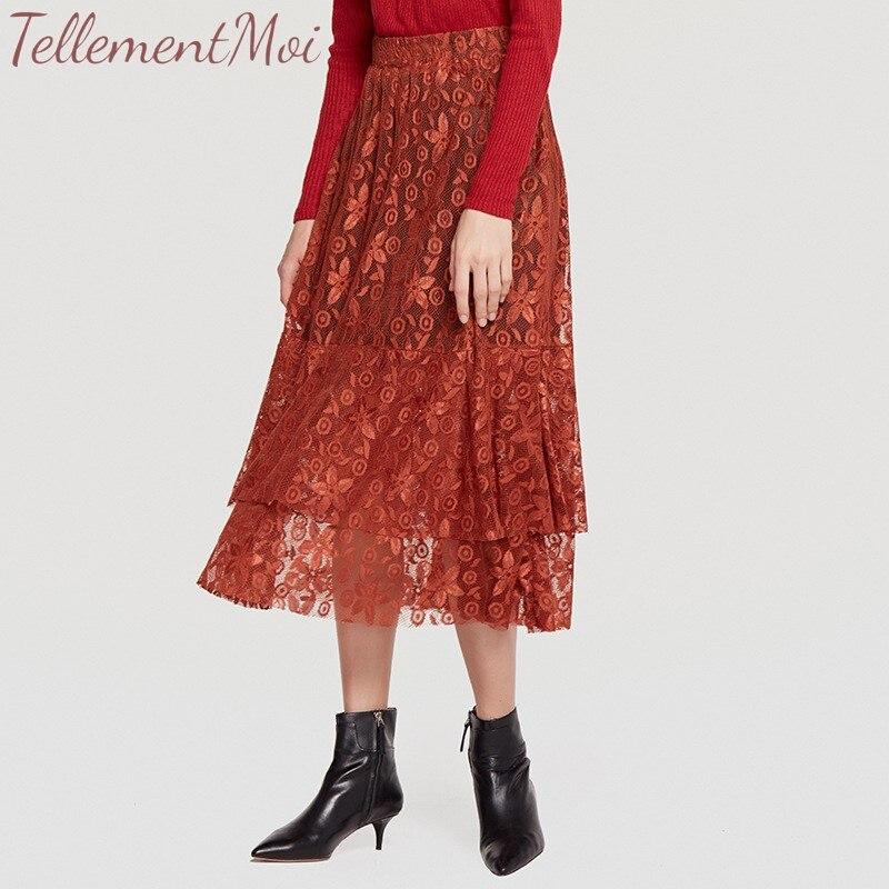 22cc9eb4b9 Skirts For Women Elegant Lace Floral Skirt Female A-Line Layered  Elastic-Waist Flowy