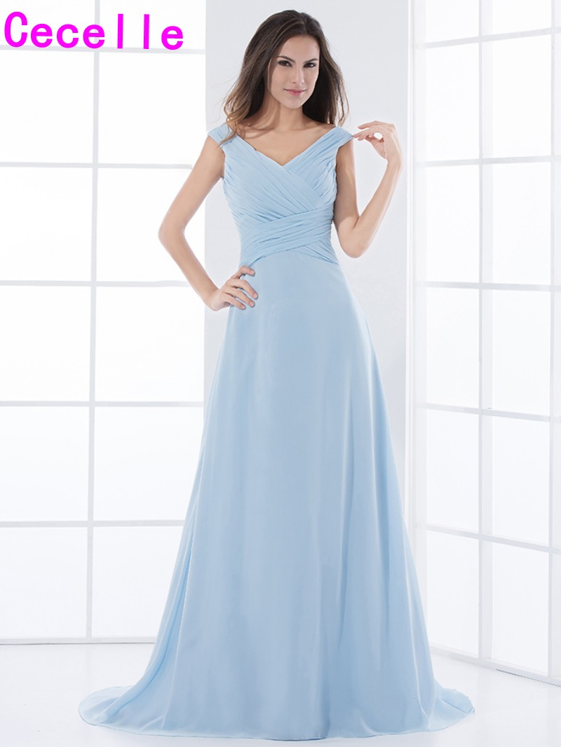 Blue Chiffon Long Bridesmaid Dresses V Neck Pleats A line Simple ...