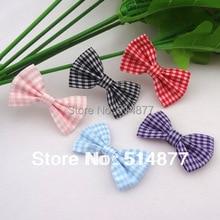 Lots Colors 200pcs U Pick Tartan plaid Ribbon Bows flower Appliques craft A074