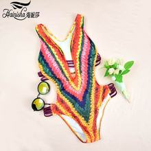 ФОТО hainisha 2018 sexy new one-piece swimsuit women bandage backless bodysuit swimwear mujer push up brazilian monokini beach 8450