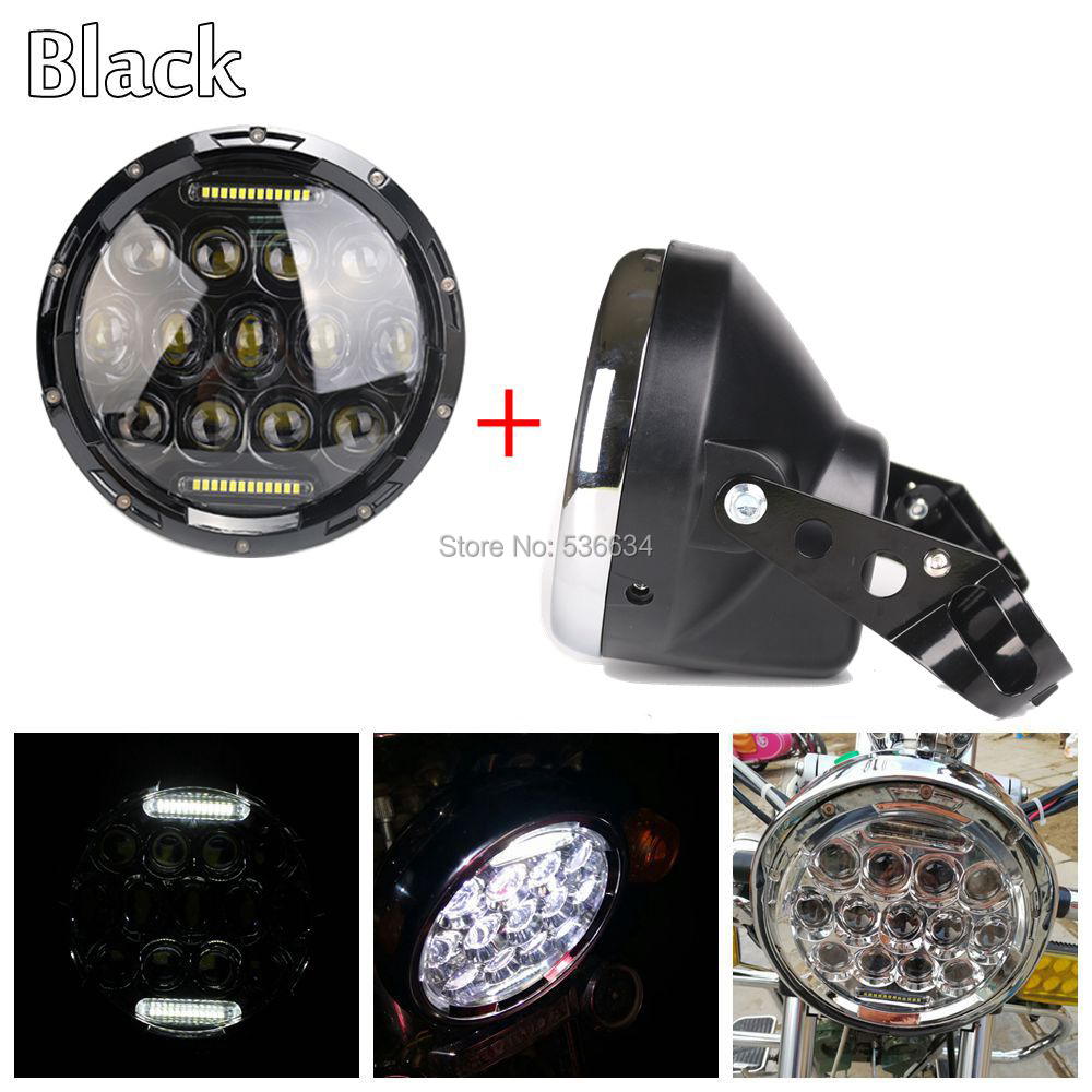 7Inch 75W LED Projector headlight with DRL Hi/Low Beam +led headlight shell Housing bucket for Harley Davidson Softail Deluxe 7inch 75w motorcycle black hi lo beam projector daymaker led chips headlight for harley