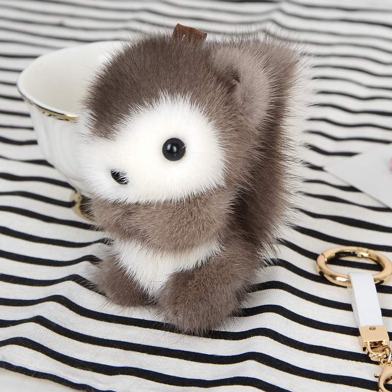 2019 New Mink Skin Little Squirrel Keychain Mink Leather Keychain Fiuffy Small Jewelry Bag Car Hanging