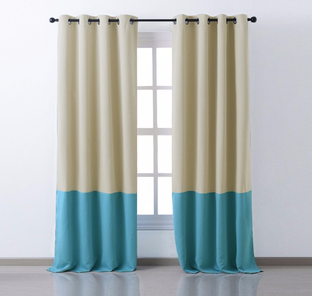 nicetown color block window curtains window covering fashion 2 tones thermal insulated grommet blackout drapery panel - Drapery Panels