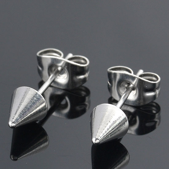 1Pair Black Silver Cool Stainless Steel Spike Beads Men Earring Ear Stud Cool Gift ...