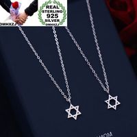 OMHXZJ Wholesale Personality Fashion OL Woman Girl Party Wedding Gift White Six Pointed Star 925 Sterling Silver Necklace NC32