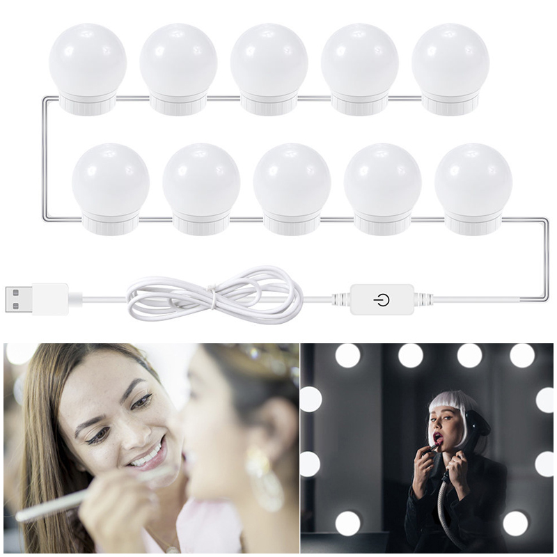 12V Makeup Mirror Vanity LED Light Bulbs Kit USB Charging Port Cosmetic Lighted Make Up Mirrors Bulb Adjustable Brightness Light(China)