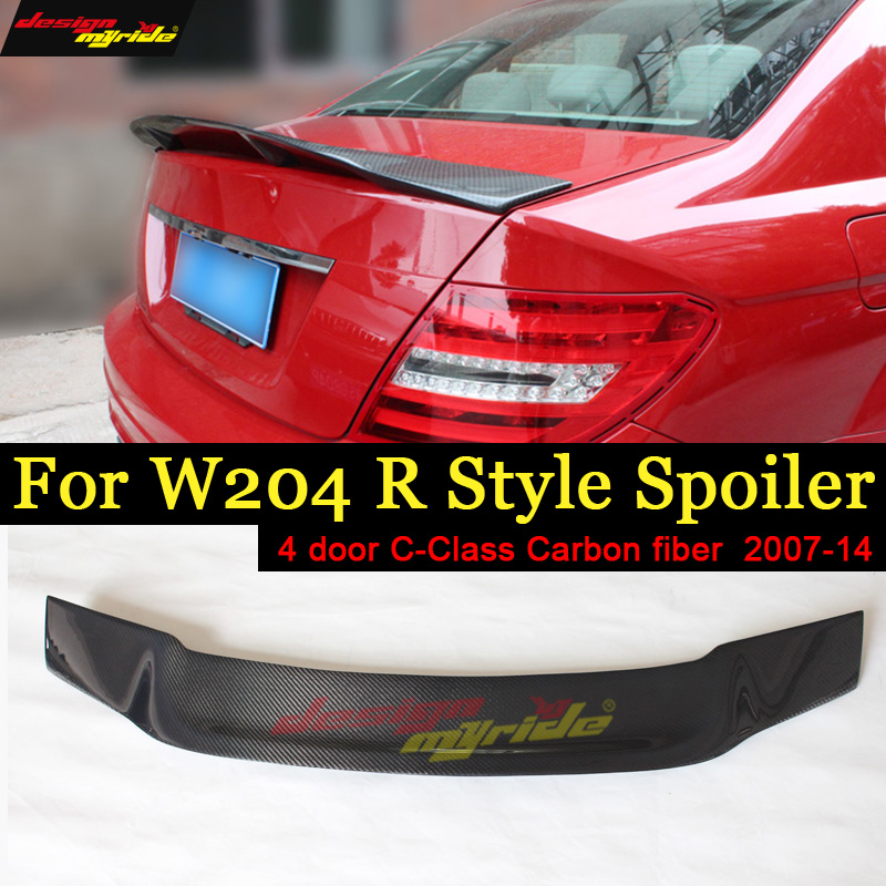 For Mercedes Benz W204 Tail Spoiler R Style Carbon fiber 4 doors C180 C200 C250 C300