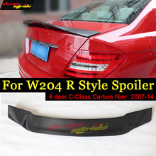 For Mercedes Benz W204 Tail Spoiler R Style Carbon fiber 4-doors C180 C200 C250 C300 350 C63 Rear Trunk Wing 07-14 Sedan