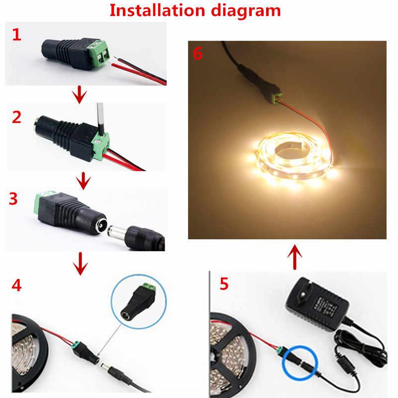 RGB LED Strip 2835 3528 5M 10M 1M 2M 3M 4M LED Tumbuh Tahan Air fleksibel Pita Dioda RGB DC 12V LED + Adaptor Daya Strip Full Set