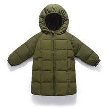 цена на Children Jacket Outerwear Boys Girls Autumn Warm Down Hooded Windproof Coat Kids Winter Parka Windbreaker 2 3 4 5 6 7 8 9 Years