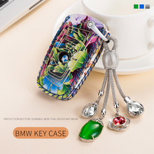 Leather Key Fob Case with Key Chain full protection For BMW F30 F20 X1 X3 X5 X6 X7 E30 E34 E90 E60 E36 and 5 Series 18 girls