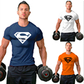 2016 Summer Men gold and silver high quality cotton products Superman T-shirt in the bodybuilding t shirt Fitness tops