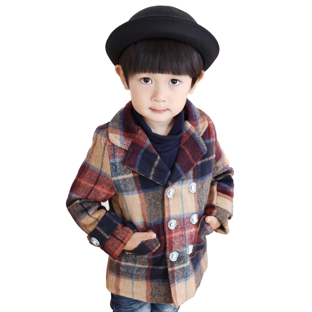 2016 Autumn Winter Baby Coat Outerwear Boy Clothes Casual Style Warm Cashmere Infant Children's Wool Blends Jackets High Quality