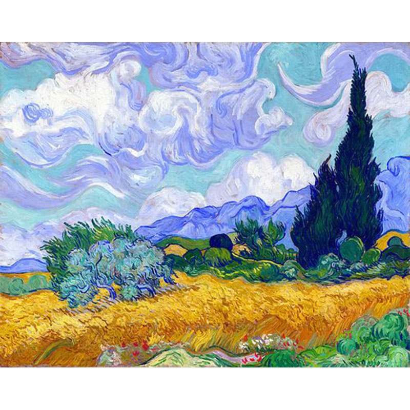Hand Painted Wheat Field with Cypresses oil painting Vincent van Gogh For Living Room Hotel