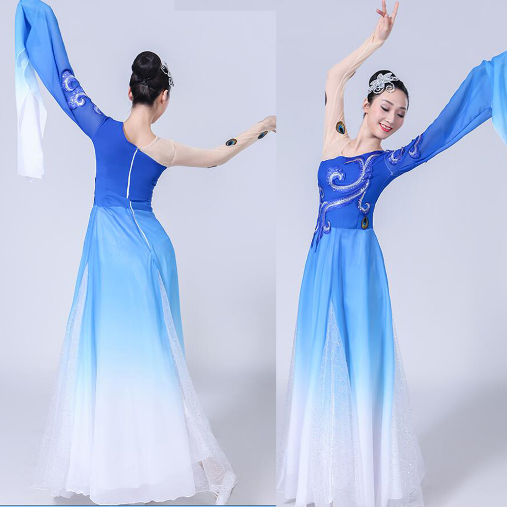 Female  Chinese Folk Costume Long Sleeve Yangko Dance Dancer Wear Stage Outfits Women Performance Water Sleeve Dancing Costumes