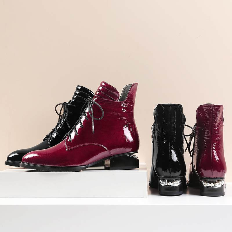 Image 2 - 2019 superstar pearl pointed toe keep warm zipper ankle boots  elegant motorcycle boots brand pearl heels sexy winter shoes L2f1Ankle  Boots