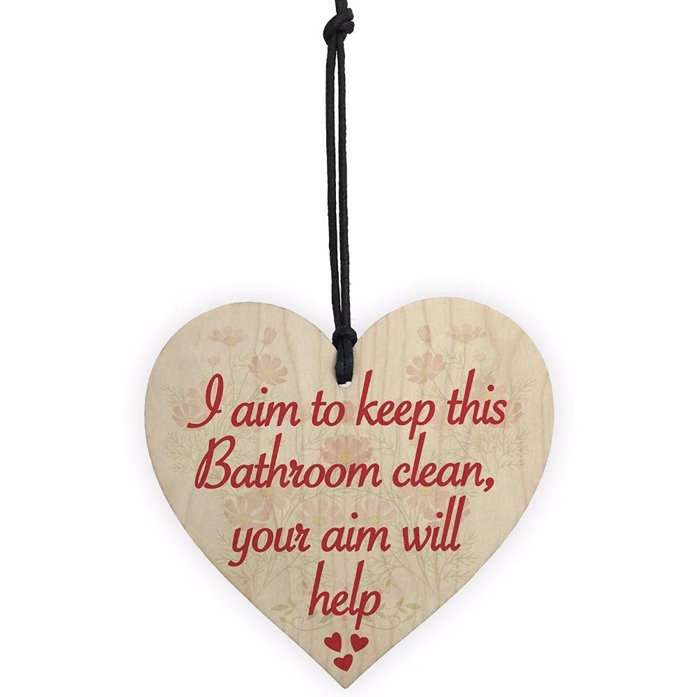 "Bathroom Aim Wood Decorative Plaque 10/""x 4/"" Wall Decor Sign"