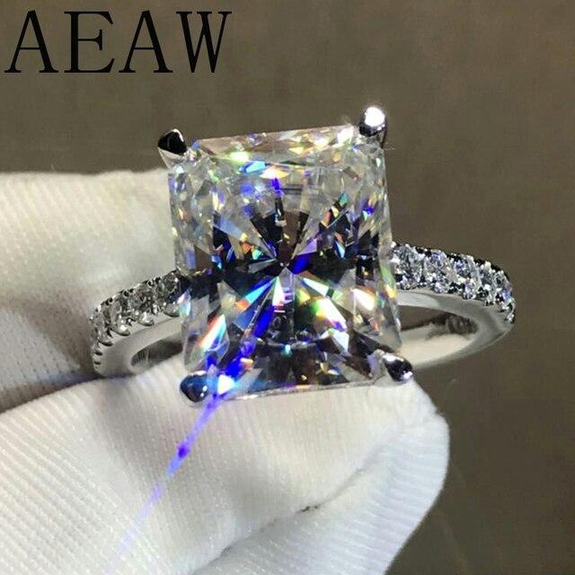 AEAW 4CT taille radieuse GH Moissanite bague de fiançailles en 925 argent diamant bijoux fins pour femmes VS F gemmes