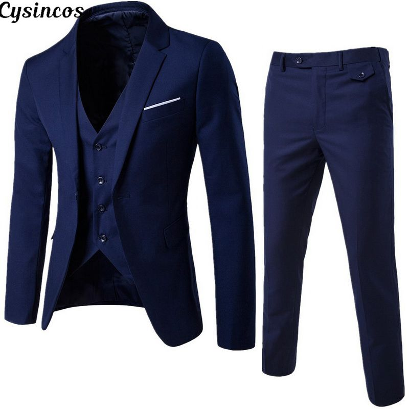 CYSINCOS Clothing Suit Jacket Blazers Three-Piece Business Groomsman Men's Fashion Pants-Sets