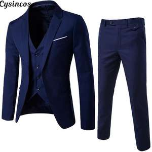 CYSINCOS Clothing Jacket Pants-Sets Blazers Three-Piece suit Slim-Suits Business Groomsman