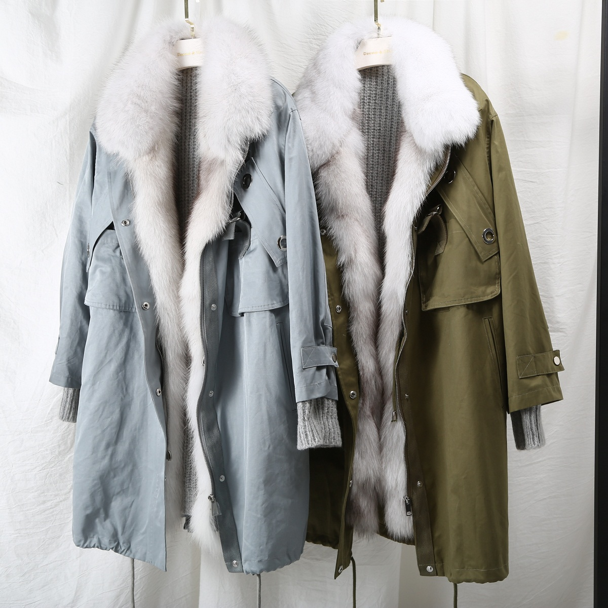 Sweater Splice Real Fox Fur Women's Winter Parkas Middle Long Plus Size Real Fur Coat Korean Women Clothes 2018 New