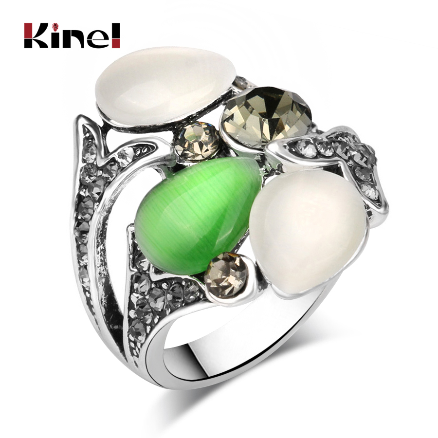 Kinel Vintage Crystal anel Jewelry Opals Wedding Rings for Women Silver Color Luxury Bohemia Style 2016 Նորաձևության նվերներ