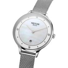Nesun das Mulheres Relógios Top Marca de Luxo Japão Movimento De Quartzo Cidadão N8805-3 Pérola Relógio Relogio feminino Relógios De Pulso De Diamante