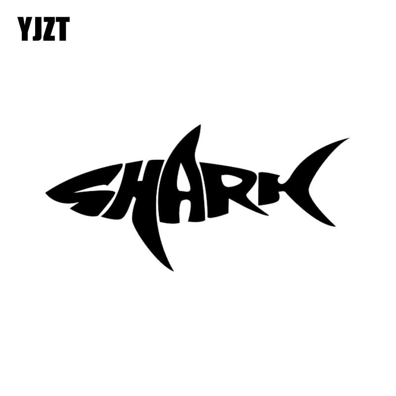 Yjzt 12 5cm 6cm Shark Written Words Fashion Vinyl Car