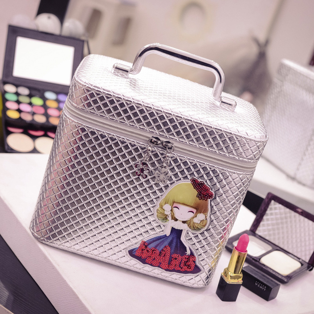 2017 TOP Large Capacity PU Travel Cosmetic Bag Protable Makeup Bag Korean Pouch Zipper sac a main brand cosmetic beautician bags