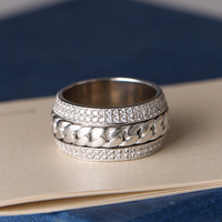 925 silver jewelry ring Rotating chain