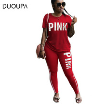 DUOUPA Pink Letter Print Tracksuits Women Two Piece Set Spring Street T-shirt Tops and Jogger Set Suits Casual 2pcs Outfits pearl beading black tracksuits women two piece set 2018 street t shirt tops and jogger set suits casual bodcon 2pcs outfits