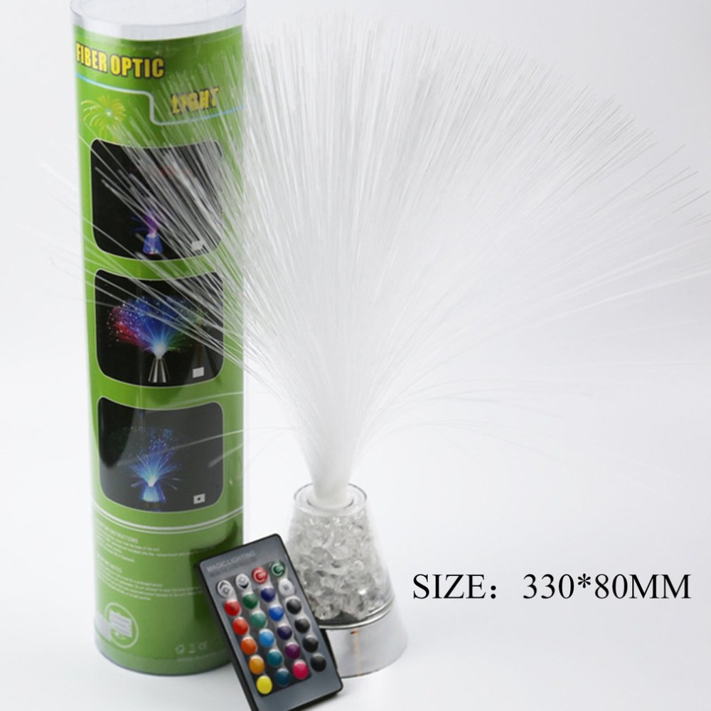 Creative Fiber Optic Lamp Remote Control Colorful Lighting Decor Light With Color-Changing Crystals Base For Festival Party