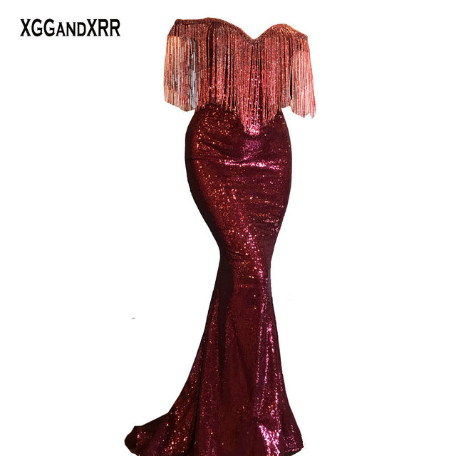 Luxury Burgundy Mermaid Prom Dresses 2018 Tassels Evening Dress Long Sweetheart Shining Beading Sexy Backless Woman Party Gowns