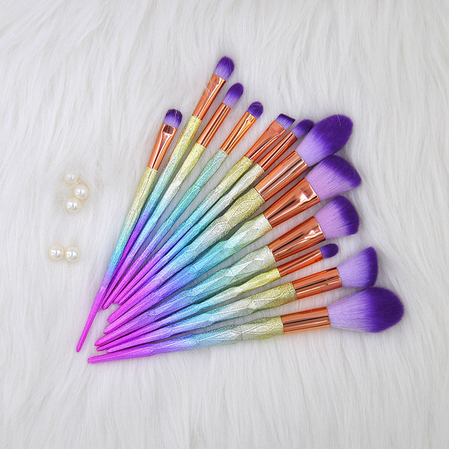 12 PCS Unicorn Diamond Brush Makeup Brush Set Nylon Hair Eyebrow Eyeshadow Powder Brush Glitter Brushes Unicorn Broches Kits