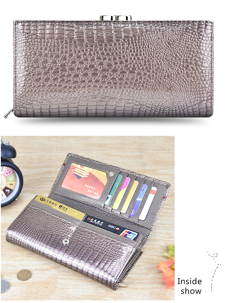 DICIHAYA Brand Genuine Leather Women Wallets Crocodile Print Long Hasp Zipper Wallet Ladies Clutch Bag Purse Female Luxury 2019