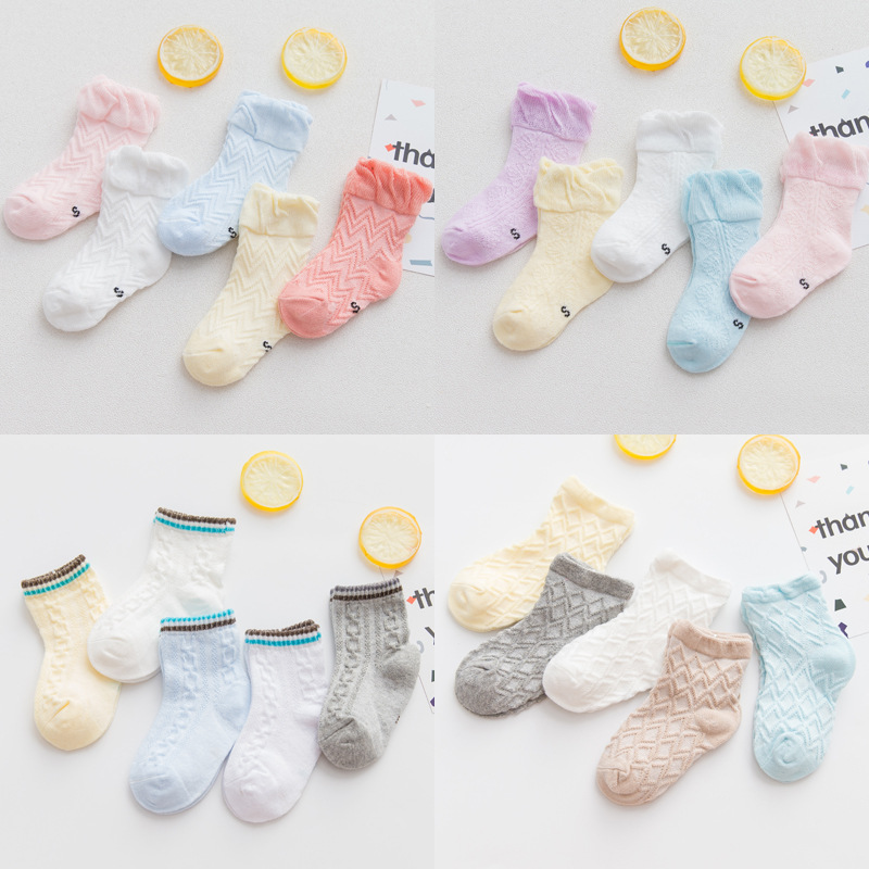 AiKway 5 Pairs/Lot Infant Socks Cotton Baby Mesh Boy Girl Lace Socks Newborn Toddler Breathable Solid Color Socks