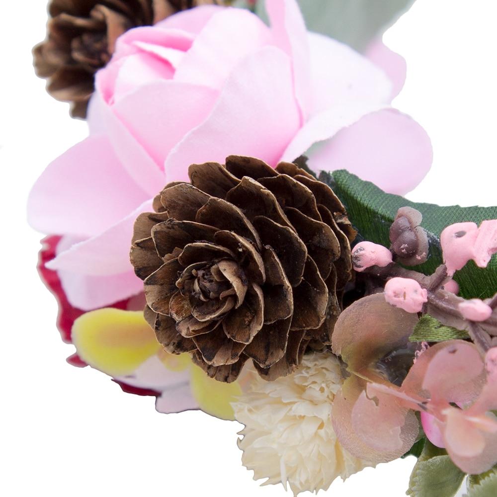 AWAYTR Handmade Wedding Bride Flower Wreath Hair Accessory Party Woman Cloth Flower Crown Hair Bands Retro Wreath Hair Garland