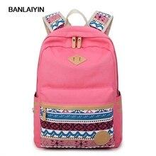 Этническая Стиль женщины рюкзак для школы для девочек-подростков винтажные Стильные Сумки Школа дамы холст рюкзак женский высокое качество