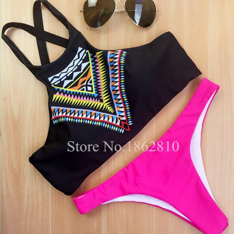 2016 New Women Bikinis High Neck Push up Bikini Set Geometry Black Swimwear Female Slim Print Swimsuit Biquini brazilian Beach