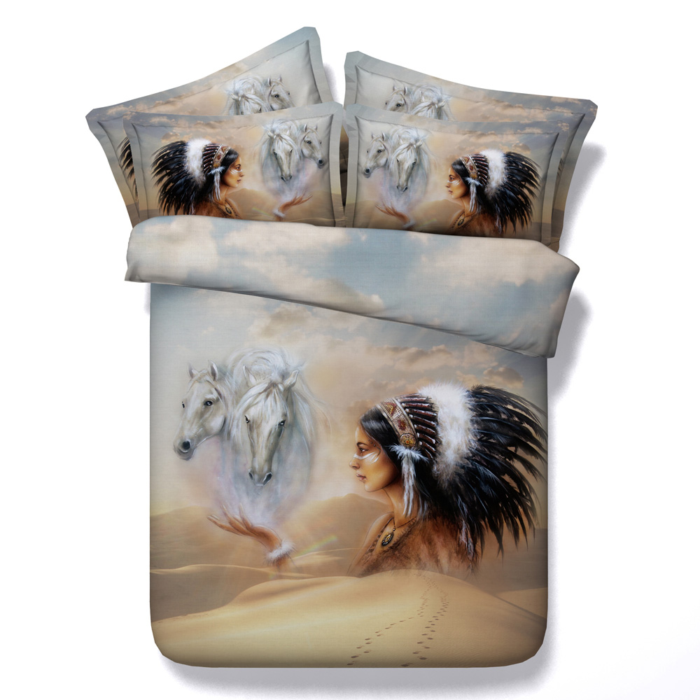 Indian Girl White Horse 3d Printed Bedding Sets Twin Full Queen