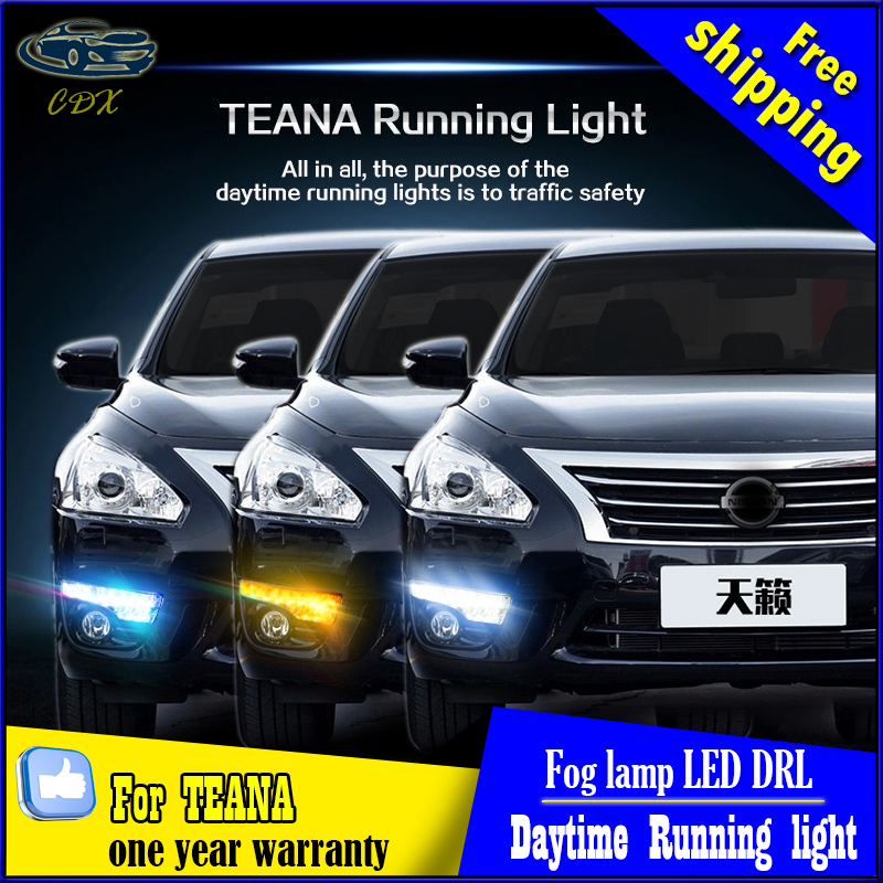 Turn Signal and dimming style Relay 12V LED CAR DRL Daytime running lights with fog lamp hole for Nissan TEANA ALTIMA 2013-2015