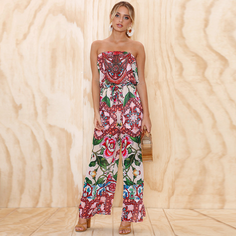 Floral Print Off Shoulder Jumpsuit Women Sexy Strapless Backless Summer Beach Long Pants Sleeveless Playsuits Overalls