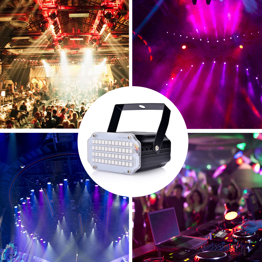 Strobe Stage Light Disco Bar Music Party 48 RGB Remote Control Mini Stage Lights Festival Glow Party Supplies Carnival Lighting (11)